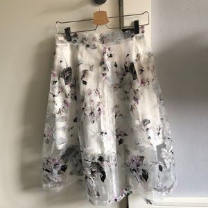 HYPR - sheer layered floral Midi skirt